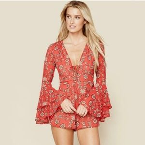 For Love and Lemons Red Floral Romper